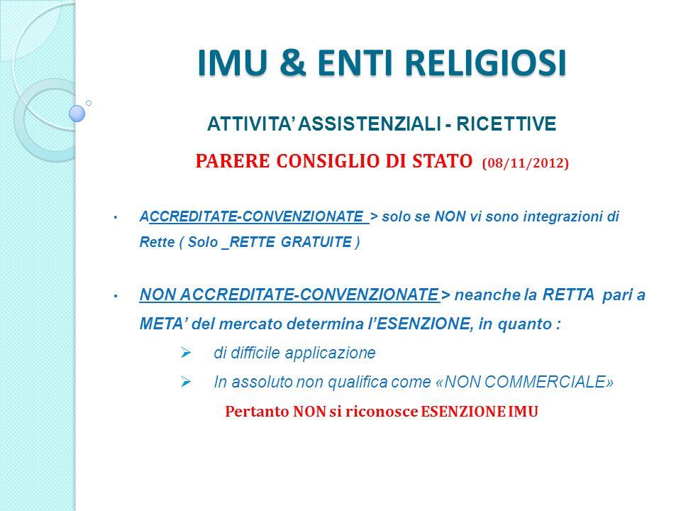 IMU & ENTI RELIGIOSI ATTIVITA ASSISTENZIALI - RICETTIVE PARERE CONSIGLIO DI STATO (08/11/2012) ACCREDITATE-CONVENZIONATE > solo se NON vi sono integrazioni di Rette ( Solo _RETTE GRATUITE ) NON ACCREDITATE-CONVENZIONATE > neanche la RETTA pari a META del mercato determina lESENZIONE, in quanto : di difficile applicazione In assoluto non qualifica come «NON COMMERCIALE» Pertanto NON si riconosce ESENZIONE IMU