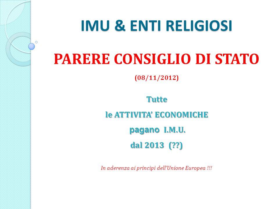 IMU & ENTI RELIGIOSI PARERE CONSIGLIO DI STATO (08/11/2012)Tutte le ATTIVITA ECONOMICHE pagano I.M.U.