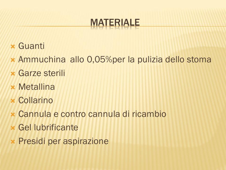 Guanti Ammuchina allo 0,05%per la pulizia dello stoma Garze sterili Metallina Collarino Cannula e contro cannula di ricambio Gel lubrificante Presidi per aspirazione