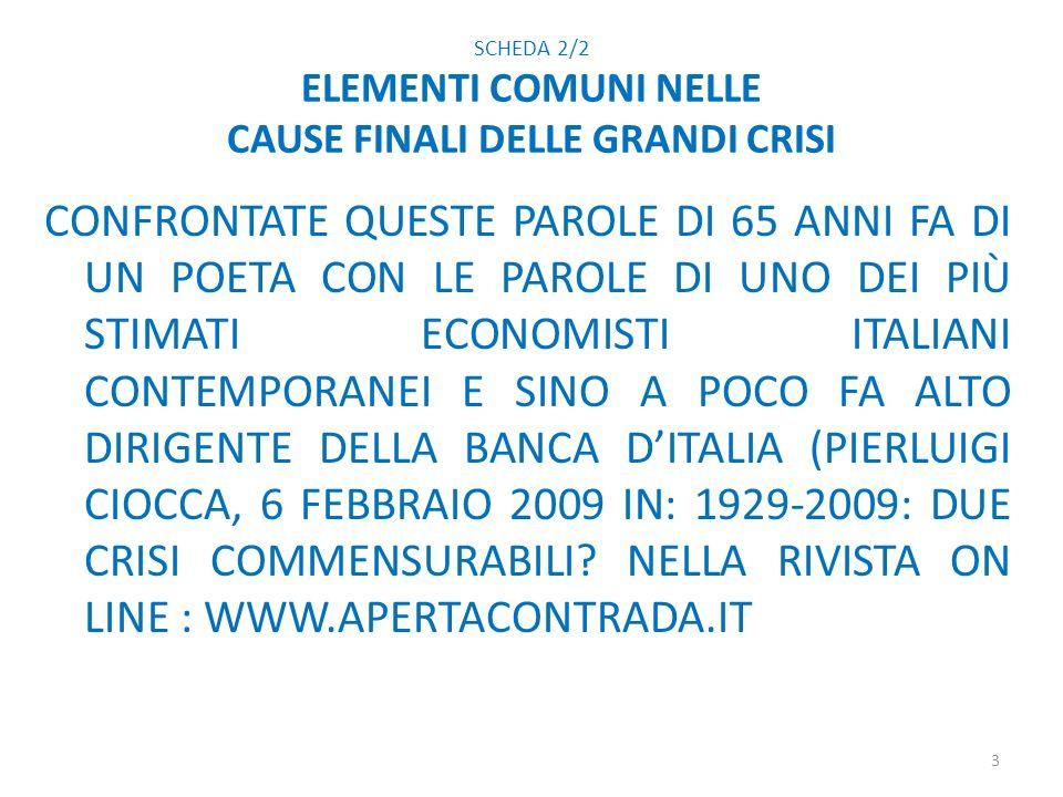 SCHEDA 2/2 ELEMENTI COMUNI NELLE CAUSE FINALI DELLE GRANDI CRISI CONFRONTATE QUESTE PAROLE DI 65 ANNI FA DI UN POETA CON LE PAROLE DI UNO DEI PIÙ STIMATI ECONOMISTI ITALIANI CONTEMPORANEI E SINO A POCO FA ALTO DIRIGENTE DELLA BANCA DITALIA (PIERLUIGI CIOCCA, 6 FEBBRAIO 2009 IN: 1929-2009: DUE CRISI COMMENSURABILI.