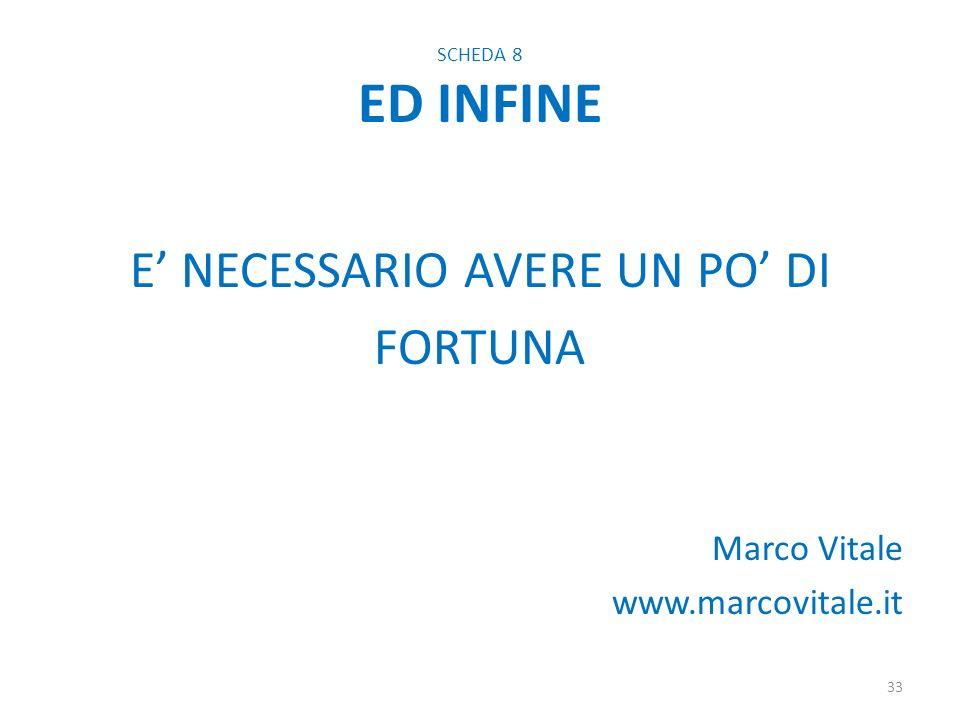SCHEDA 8 ED INFINE E NECESSARIO AVERE UN PO DI FORTUNA Marco Vitale www.marcovitale.it 33