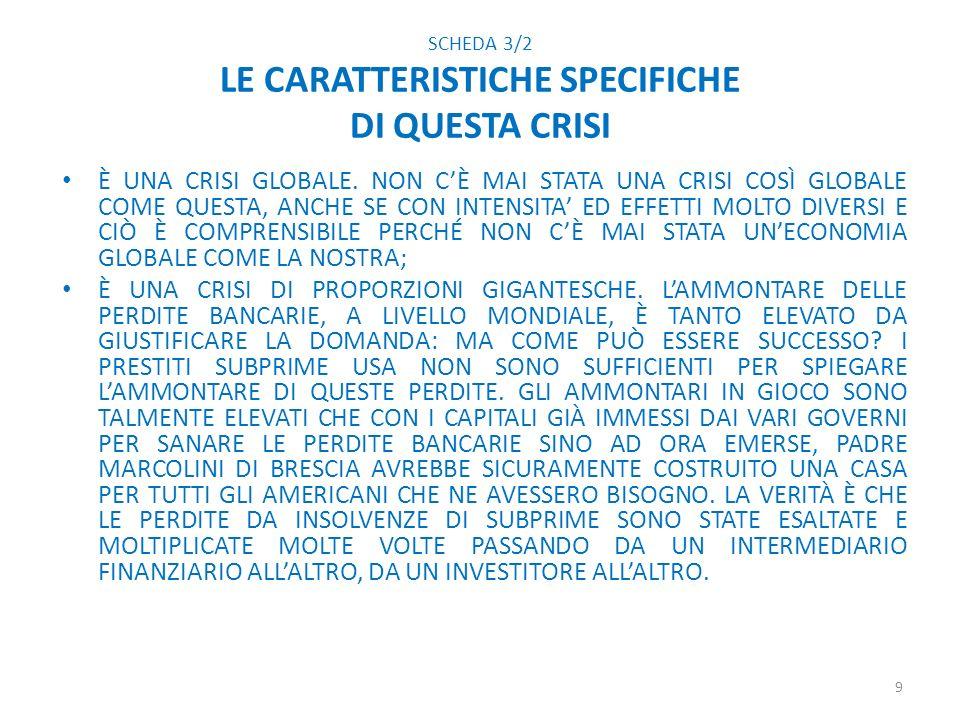 SCHEDA 3/2 LE CARATTERISTICHE SPECIFICHE DI QUESTA CRISI È UNA CRISI GLOBALE.