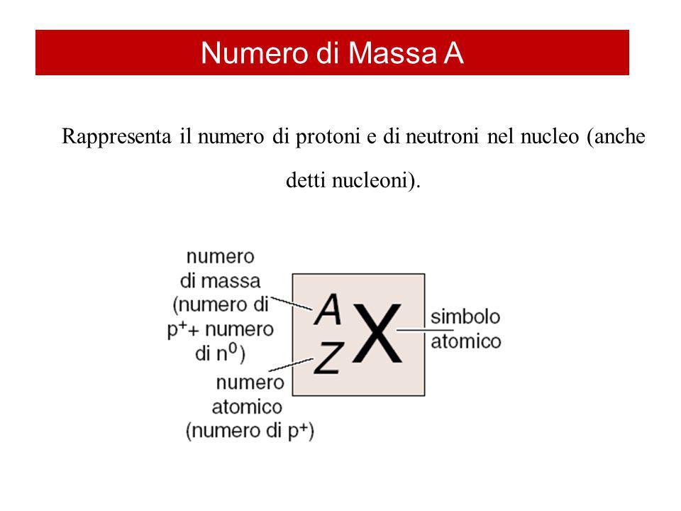 Rappresenta il numero di protoni e di neutroni nel nucleo (anche detti nucleoni). Numero di Massa A