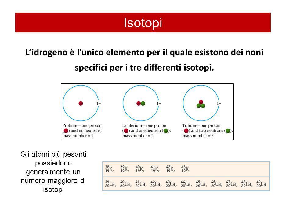 Lidrogeno è lunico elemento per il quale esistono dei noni specifici per i tre differenti isotopi. Isotopi Gli atomi più pesanti possiedono generalmen