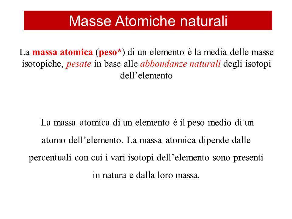 Masse Atomiche naturali La massa atomica (peso*) di un elemento è la media delle masse isotopiche, pesate in base alle abbondanze naturali degli isoto