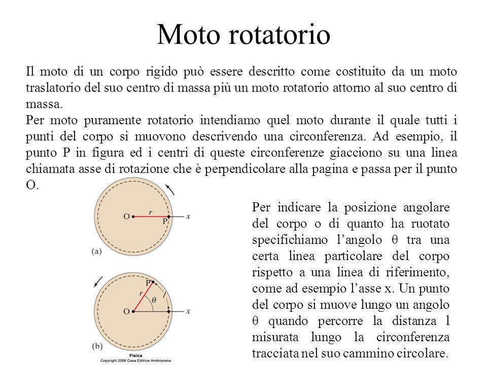 Moto rotatorio Il moto di un corpo rigido può essere descritto come costituito da un moto traslatorio del suo centro di massa più un moto rotatorio at
