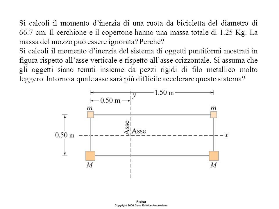 Si calcoli il momento dinerzia di una ruota da bicicletta del diametro di 66.7 cm. Il cerchione e il copertone hanno una massa totale di 1.25 Kg. La m