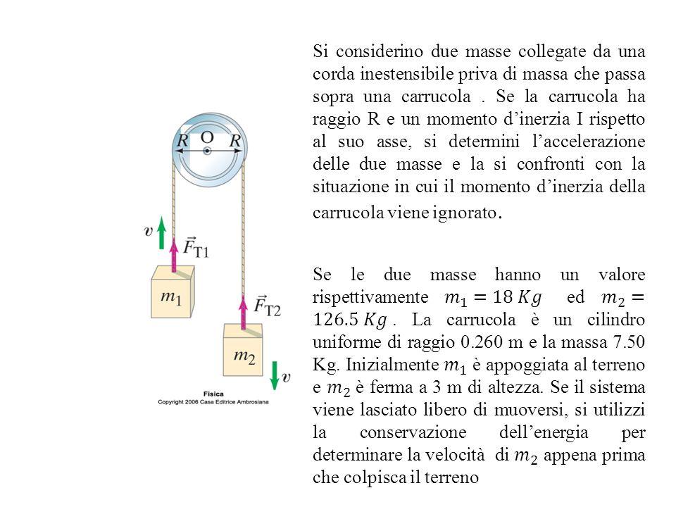Si considerino due masse collegate da una corda inestensibile priva di massa che passa sopra una carrucola. Se la carrucola ha raggio R e un momento d