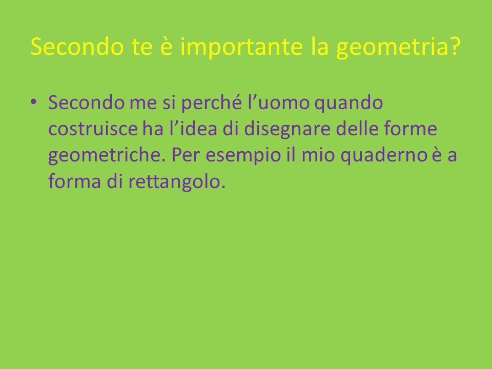 Secondo te è importante la geometria? Secondo me si perché luomo quando costruisce ha lidea di disegnare delle forme geometriche. Per esempio il mio q