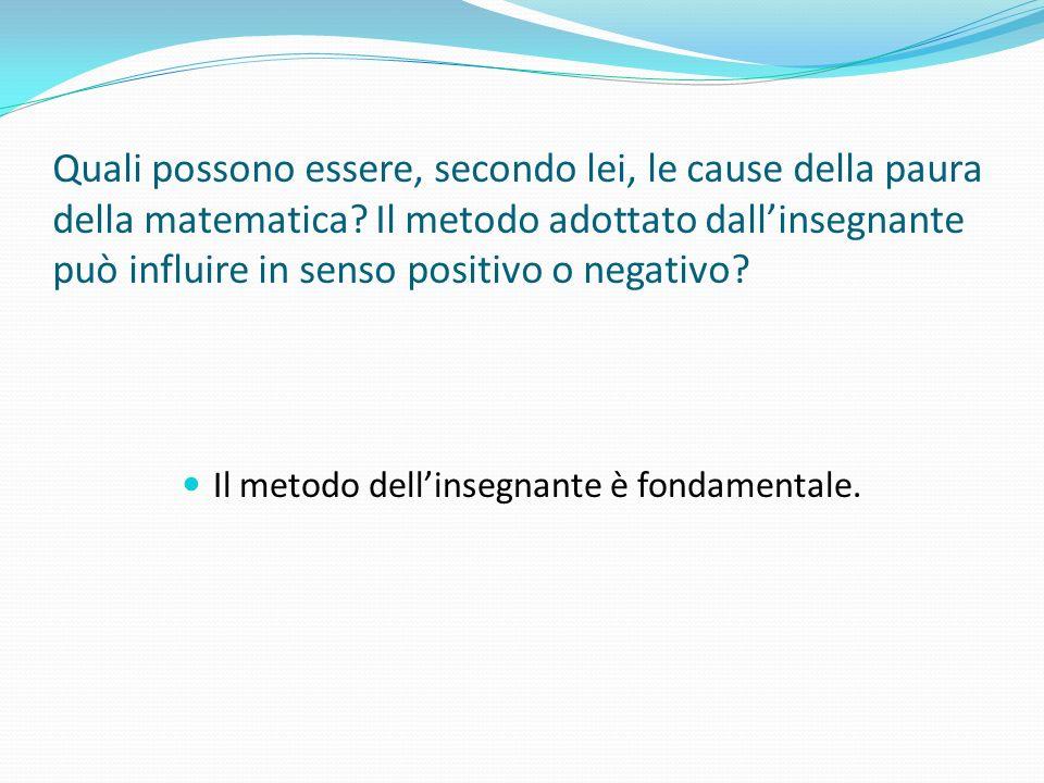 Quali possono essere, secondo lei, le cause della paura della matematica? Il metodo adottato dallinsegnante può influire in senso positivo o negativo?