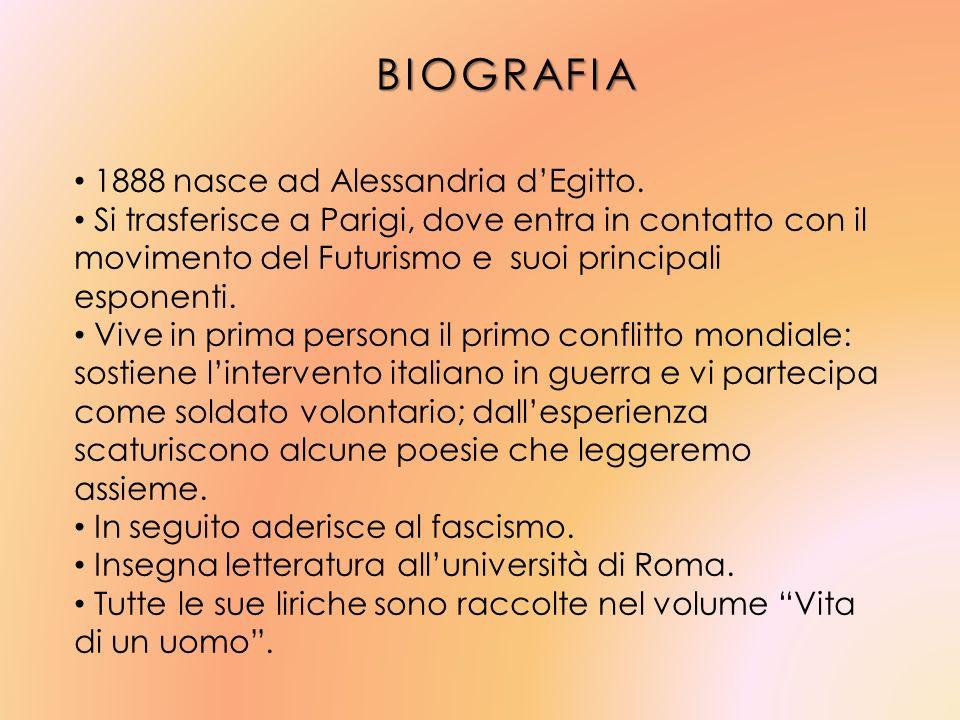 BIOGRAFIA 1888 nasce ad Alessandria dEgitto. Si trasferisce a Parigi, dove entra in contatto con il movimento del Futurismo e suoi principali esponent