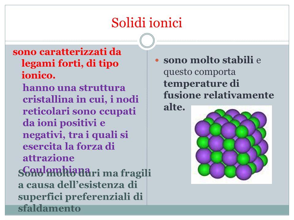 Solidi ionici non sono conduttori di corrente mentre allo stato fuso conducono molto bene conducono molto poco il calore.