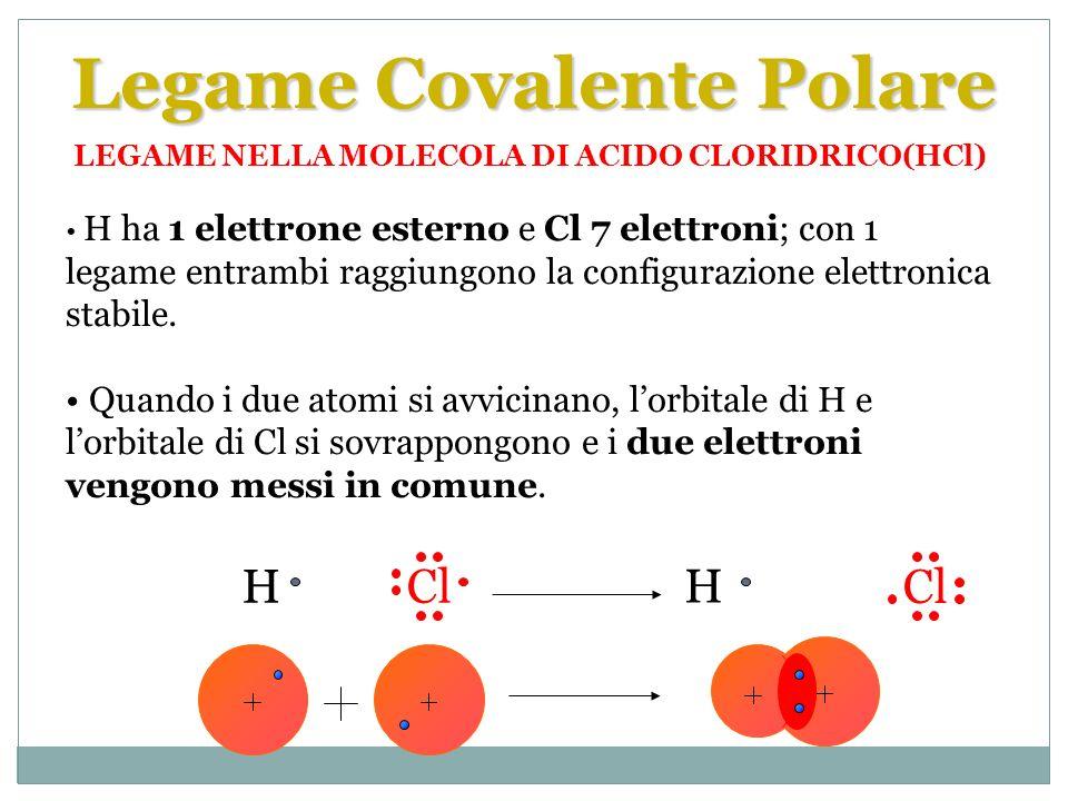 Cl, essendo più elettronegativo di H, attira i due elettroni di legame più fortemente; Cl viene ad avere una parziale carica negativa, mentre H una parziale carica positiva