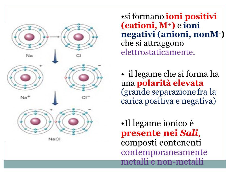= Atomo di sodio (Na) = Atomo di cloro (Cl) I due ioni, avendo cariche elettriche di segno opposto, si attirano e restano uniti.