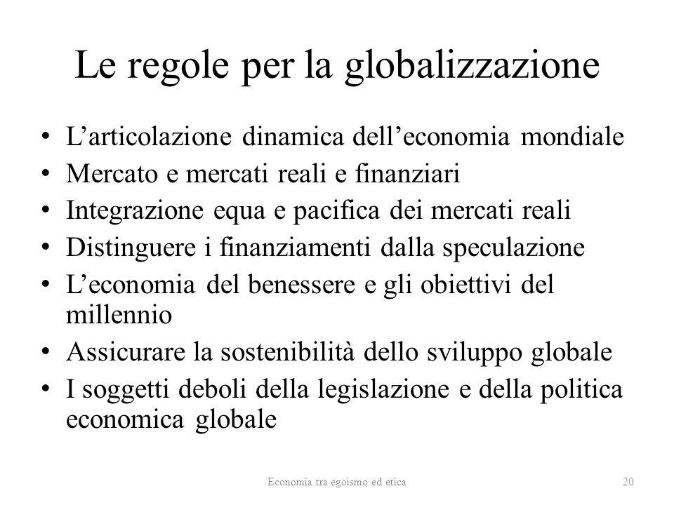 Le regole per la globalizzazione Larticolazione dinamica delleconomia mondiale Mercato e mercati reali e finanziari Integrazione equa e pacifica dei mercati reali Distinguere i finanziamenti dalla speculazione Leconomia del benessere e gli obiettivi del millennio Assicurare la sostenibilità dello sviluppo globale I soggetti deboli della legislazione e della politica economica globale Economia tra egoismo ed etica20