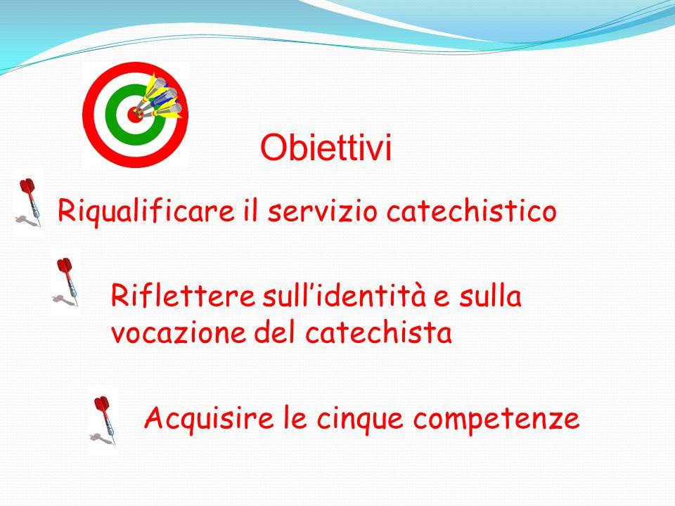 Riqualificare il servizio catechistico Riflettere sullidentità e sulla vocazione del catechista Acquisire le cinque competenze Obiettivi