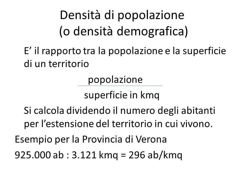 Densità di popolazione (o densità demografica) E il rapporto tra la popolazione e la superficie di un territorio popolazione superficie in kmq Si calc