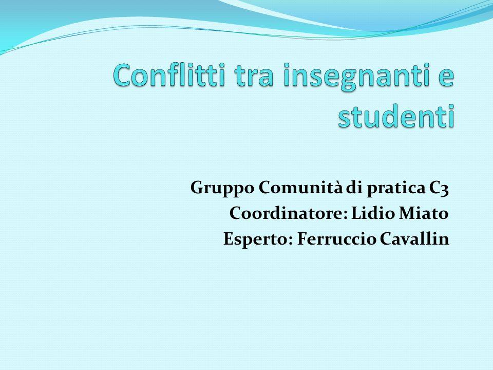 Gruppo Comunità di pratica C3 Coordinatore: Lidio Miato Esperto: Ferruccio Cavallin