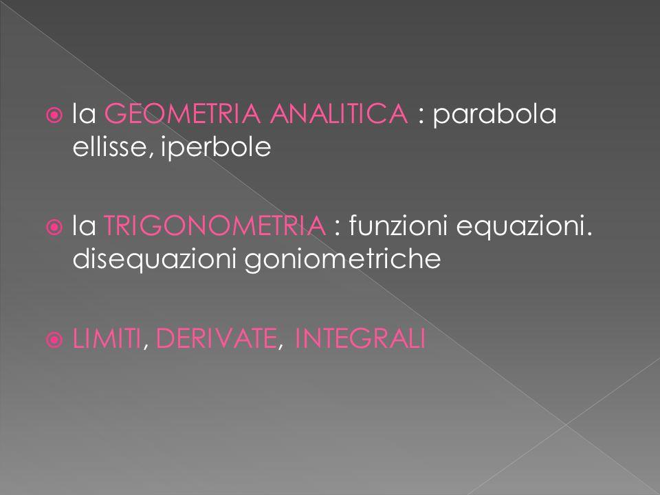 la GEOMETRIA ANALITICA : parabola ellisse, iperbole la TRIGONOMETRIA : funzioni equazioni. disequazioni goniometriche LIMITI, DERIVATE, INTEGRALI