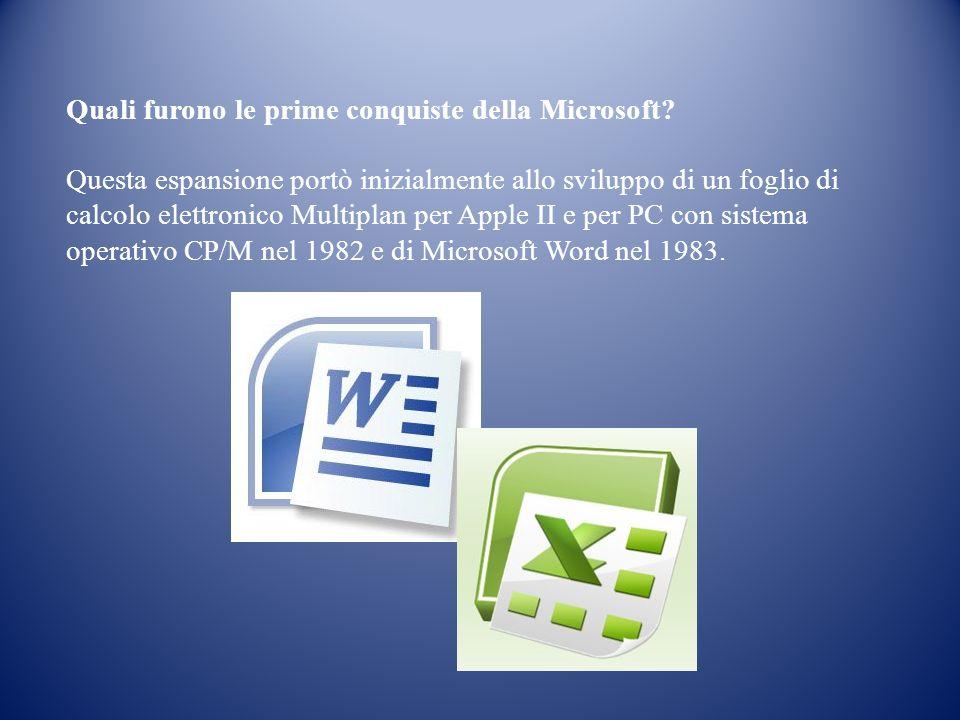 Quali furono le prime conquiste della Microsoft? Questa espansione portò inizialmente allo sviluppo di un foglio di calcolo elettronico Multiplan per