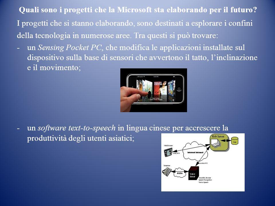 Quali sono i progetti che la Microsoft sta elaborando per il futuro.