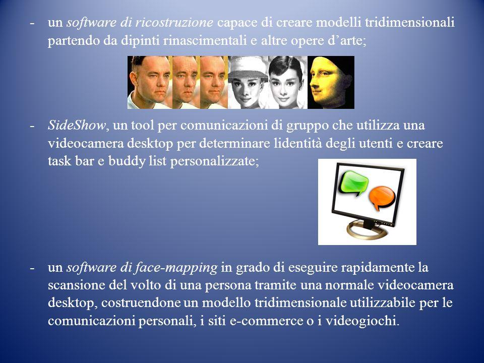 -un software di ricostruzione capace di creare modelli tridimensionali partendo da dipinti rinascimentali e altre opere darte; -SideShow, un tool per