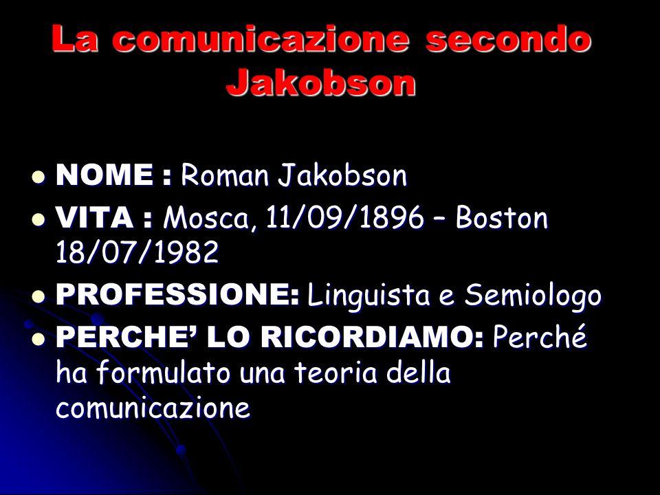 La comunicazione secondo Jakobson NOME : Roman Jakobson NOME : Roman Jakobson VITA : Mosca, 11/09/1896 – Boston 18/07/1982 VITA : Mosca, 11/09/1896 – Boston 18/07/1982 PROFESSIONE: Linguista e Semiologo PROFESSIONE: Linguista e Semiologo PERCHE LO RICORDIAMO: Perché ha formulato una teoria della comunicazione PERCHE LO RICORDIAMO: Perché ha formulato una teoria della comunicazione