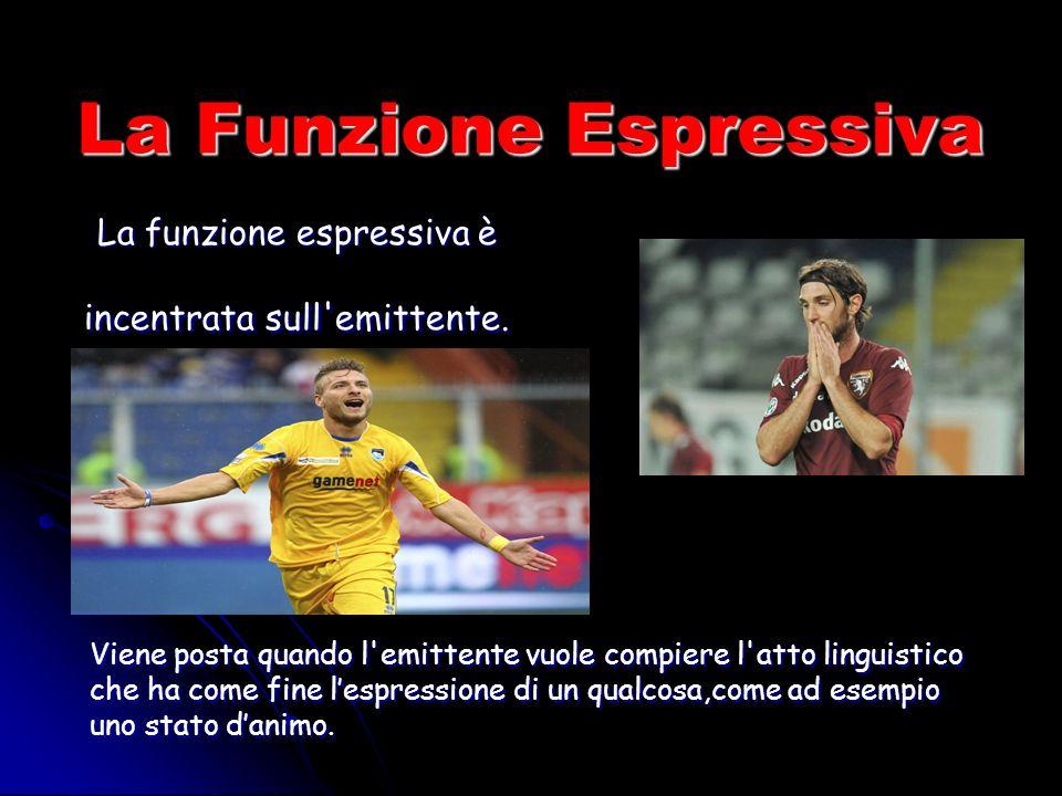 La Funzione Espressiva La funzione espressiva è incentrata sull emittente.