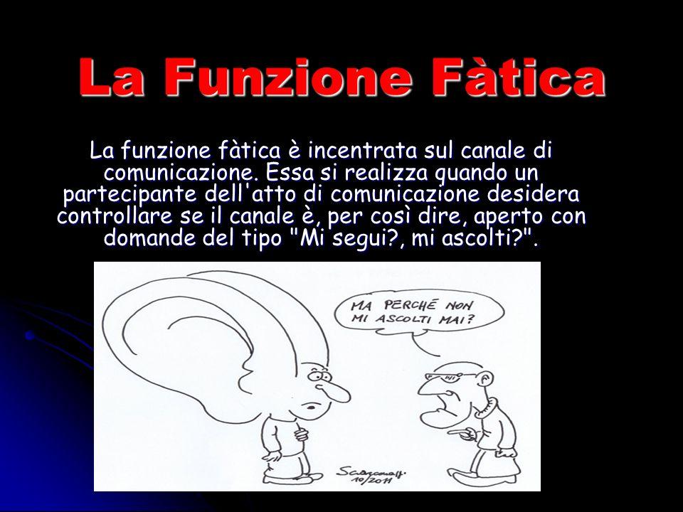 La Funzione Fàtica La funzione fàtica è incentrata sul canale di comunicazione.