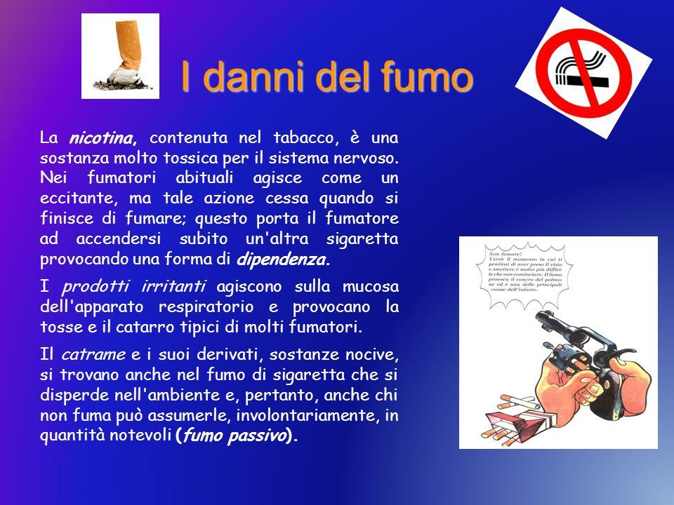 I danni del fumo La nicotina, contenuta nel tabacco, è una sostanza molto tossica per il sistema nervoso. Nei fumatori abituali agisce come un eccitan