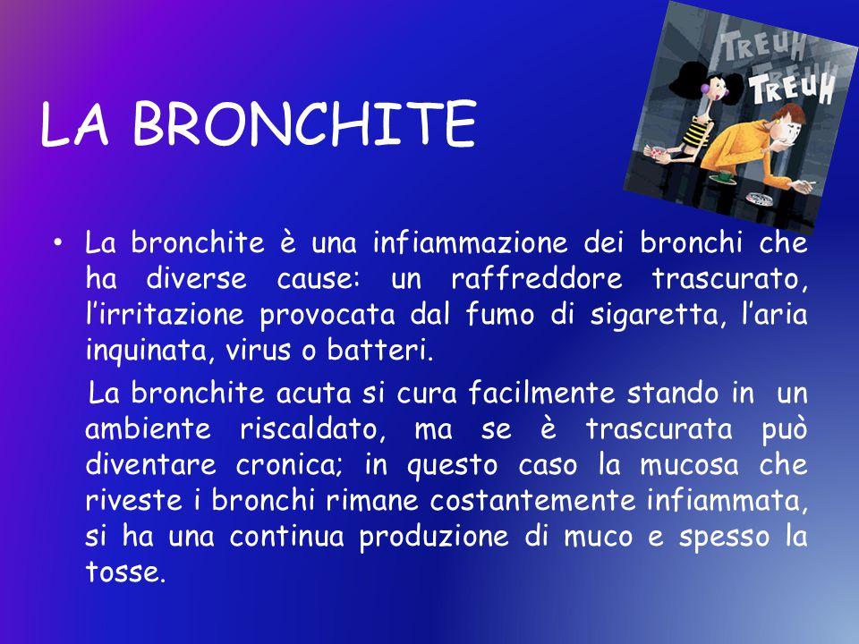 La bronchite è una infiammazione dei bronchi che ha diverse cause: un raffreddore trascurato, lirritazione provocata dal fumo di sigaretta, laria inqu