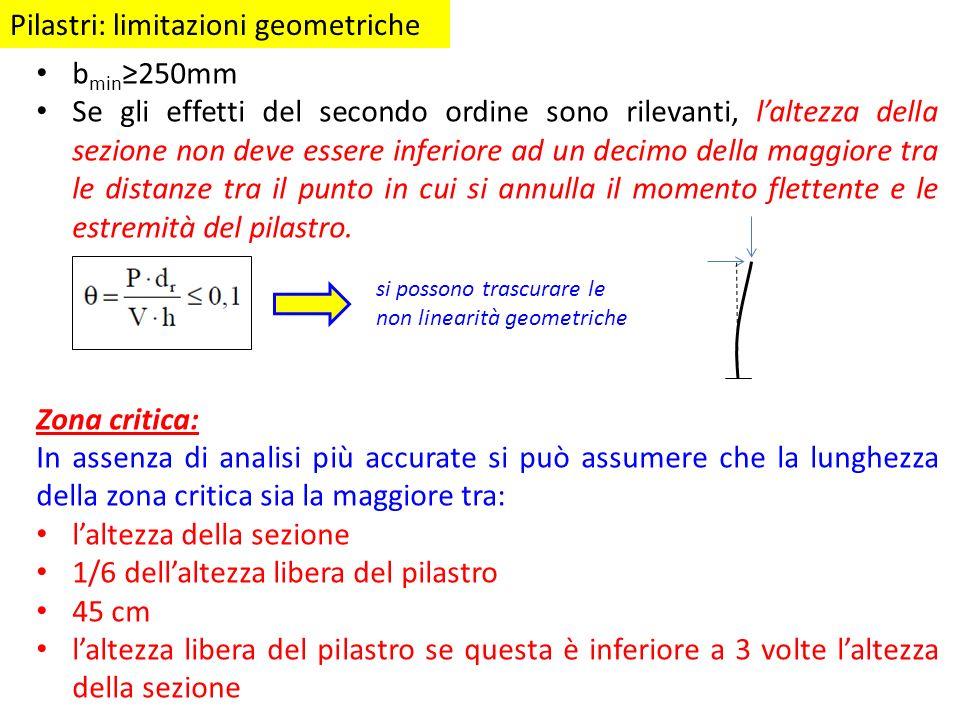 Pilastri: limitazioni geometriche b min 250mm Se gli effetti del secondo ordine sono rilevanti, laltezza della sezione non deve essere inferiore ad un