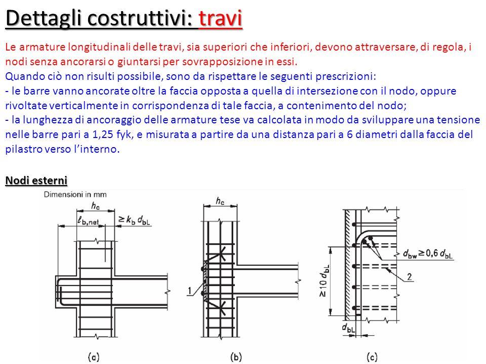 Dettagli costruttivi: travi Le armature longitudinali delle travi, sia superiori che inferiori, devono attraversare, di regola, i nodi senza ancorarsi