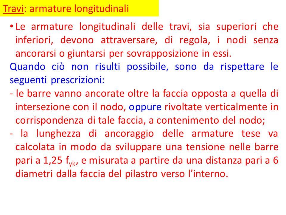 Travi: armature longitudinali Le armature longitudinali delle travi, sia superiori che inferiori, devono attraversare, di regola, i nodi senza ancorar