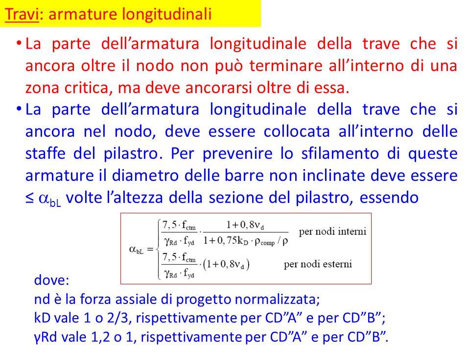 Travi: armature longitudinali La parte dellarmatura longitudinale della trave che si ancora oltre il nodo non può terminare allinterno di una zona cri