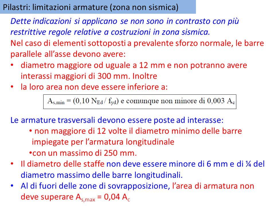 Pilastri: limitazioni armature (zona non sismica) Dette indicazioni si applicano se non sono in contrasto con più restrittive regole relative a costru