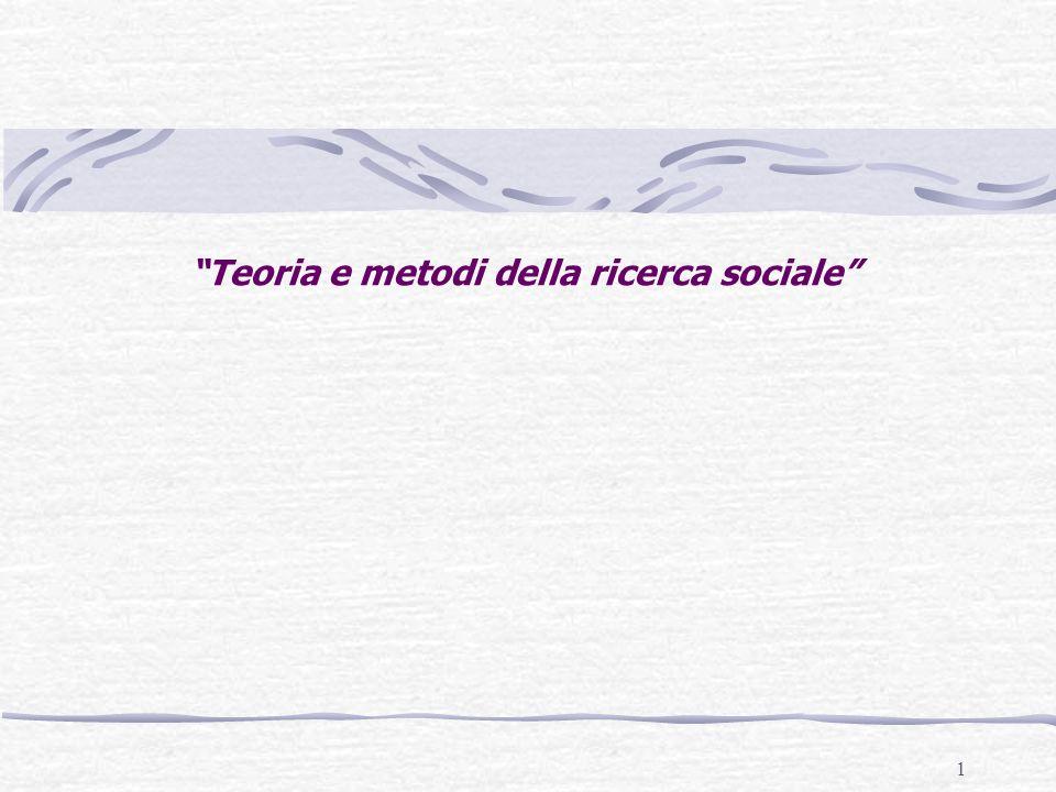 1 Teoria e metodi della ricerca sociale