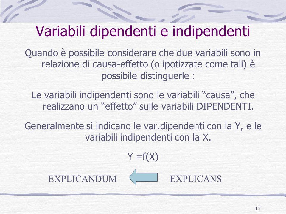 17 Variabili dipendenti e indipendenti Quando è possibile considerare che due variabili sono in relazione di causa-effetto (o ipotizzate come tali) è possibile distinguerle : Le variabili indipendenti sono le variabili causa, che realizzano un effetto sulle variabili DIPENDENTI.