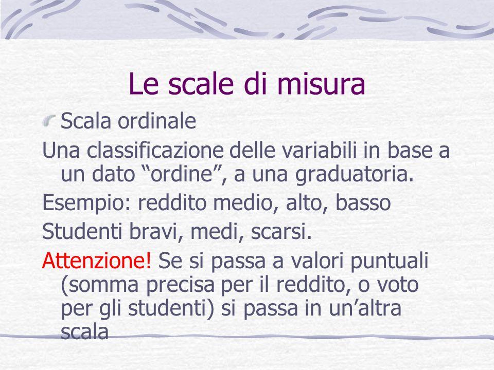 Le scale di misura Scala ordinale Una classificazione delle variabili in base a un dato ordine, a una graduatoria. Esempio: reddito medio, alto, basso