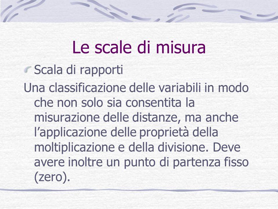 Le scale di misura Scala di rapporti Una classificazione delle variabili in modo che non solo sia consentita la misurazione delle distanze, ma anche lapplicazione delle proprietà della moltiplicazione e della divisione.