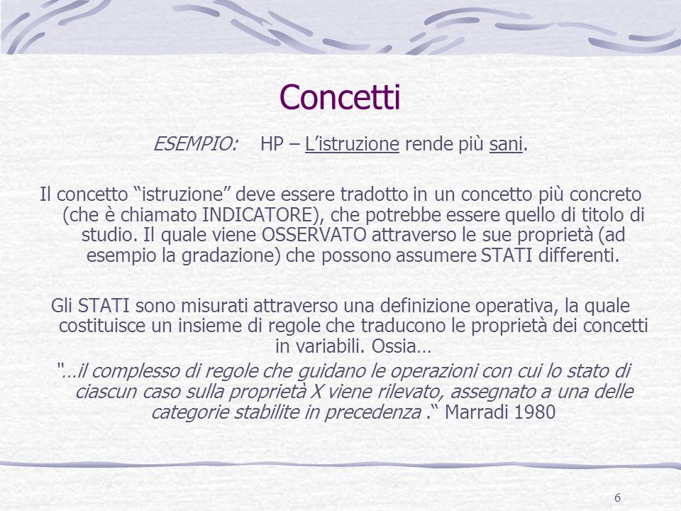 7 Concetti e indicatori CONCETTO ASTRATTO Proprietà VARIABILE Operativizzazione Concetto concreto INDICATORE