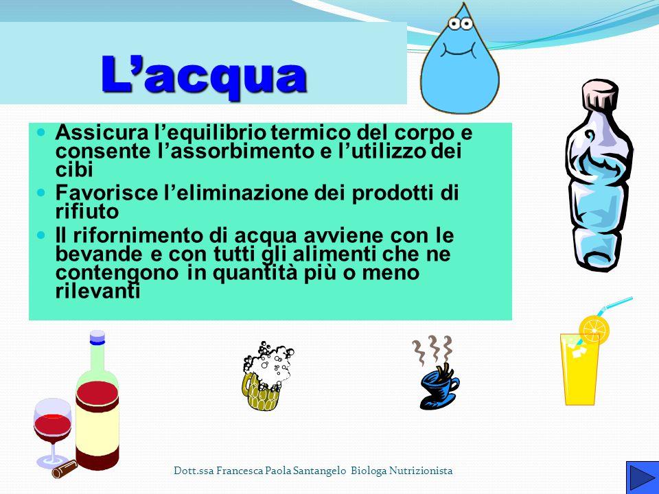 Il nostro corpo contiene il 60-65% di acqua. Noi perdiamo l'acqua dai reni (urina), dai polmoni (vapore), dalla pelle (sudore) e dall' intestino (feci