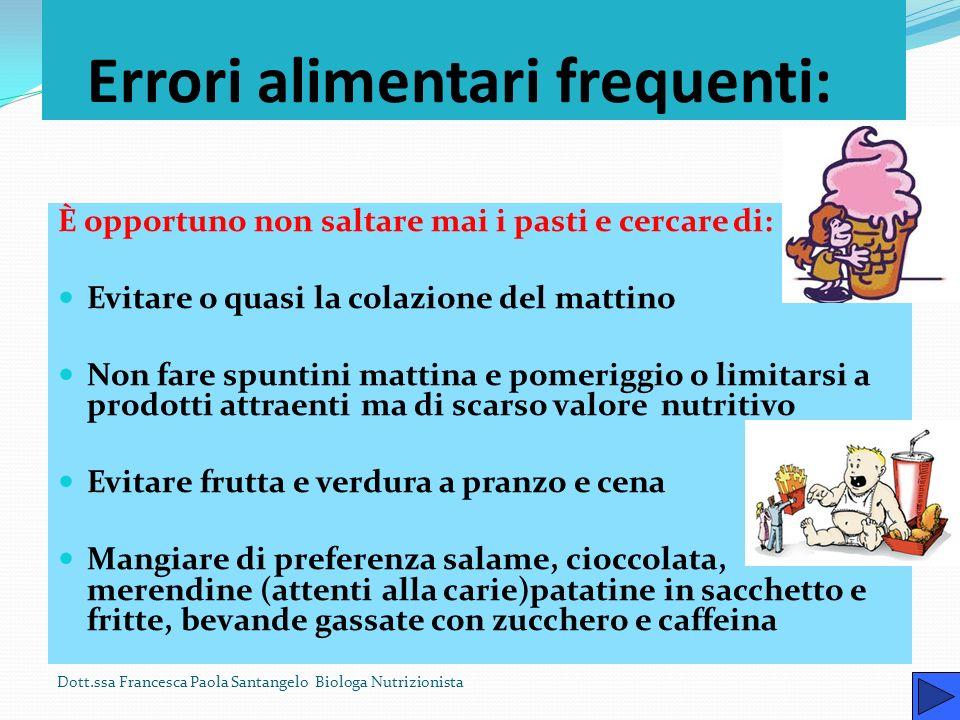 Più attenzione alle porzioni Dott.ssa Francesca Paola Santangelo Biologa Nutrizionista Lalimentazione deve essere frazionata nel corso della giornata