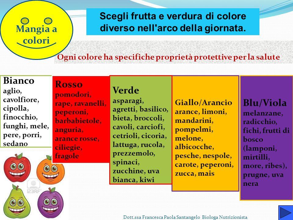 Frutta e verdura Non bisogna dimenticare mai la verdura e la frutta, ricche di vitamine e sali minerali, indispensabili al nostro organismo. In genera