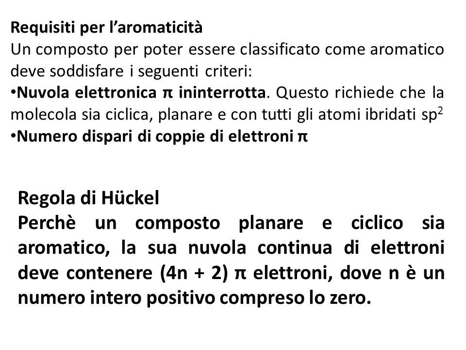 Requisiti per laromaticità Un composto per poter essere classificato come aromatico deve soddisfare i seguenti criteri: Nuvola elettronica π ininterro