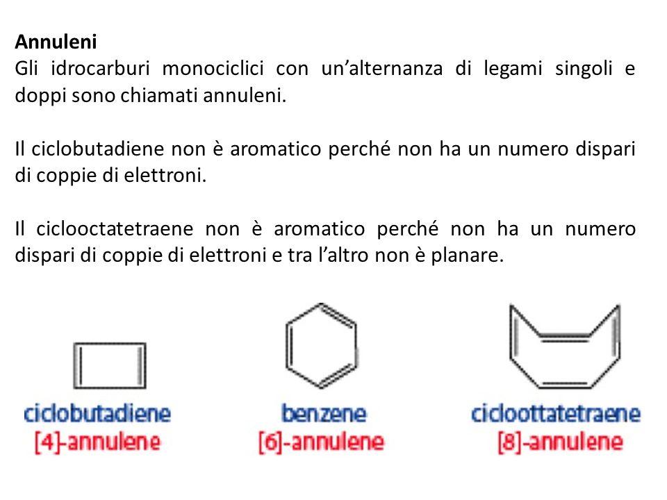 Annuleni Gli idrocarburi monociclici con unalternanza di legami singoli e doppi sono chiamati annuleni. Il ciclobutadiene non è aromatico perché non h
