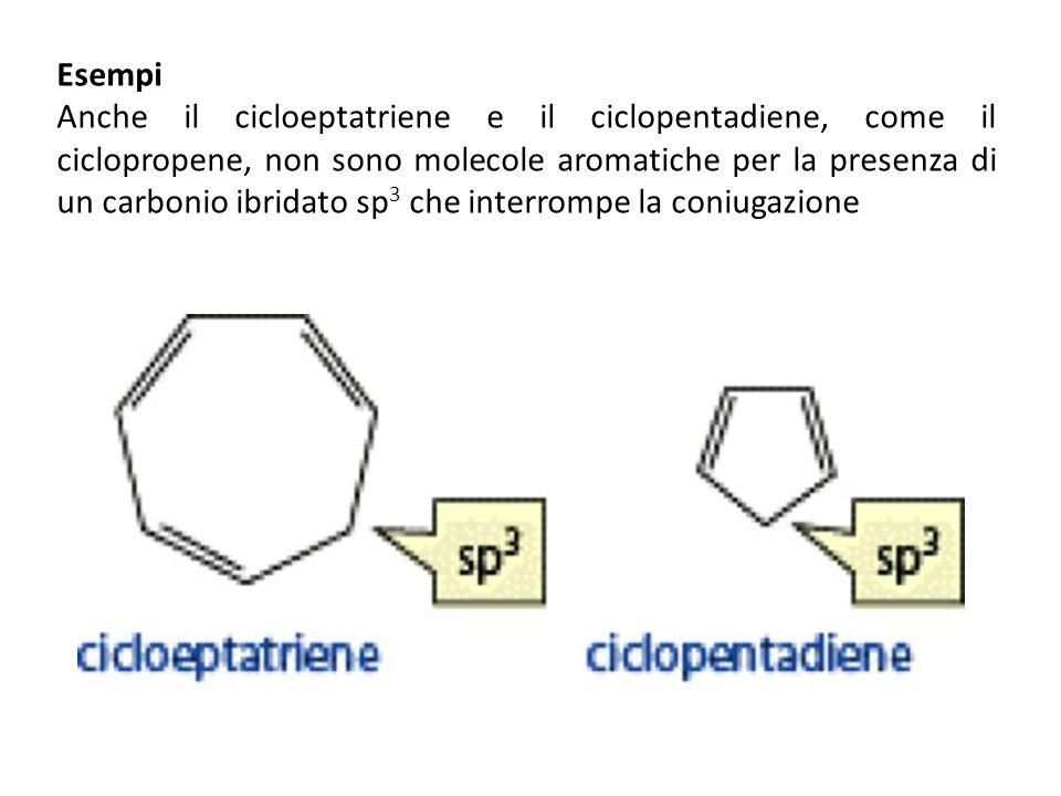 Esempi Anche il cicloeptatriene e il ciclopentadiene, come il ciclopropene, non sono molecole aromatiche per la presenza di un carbonio ibridato sp 3