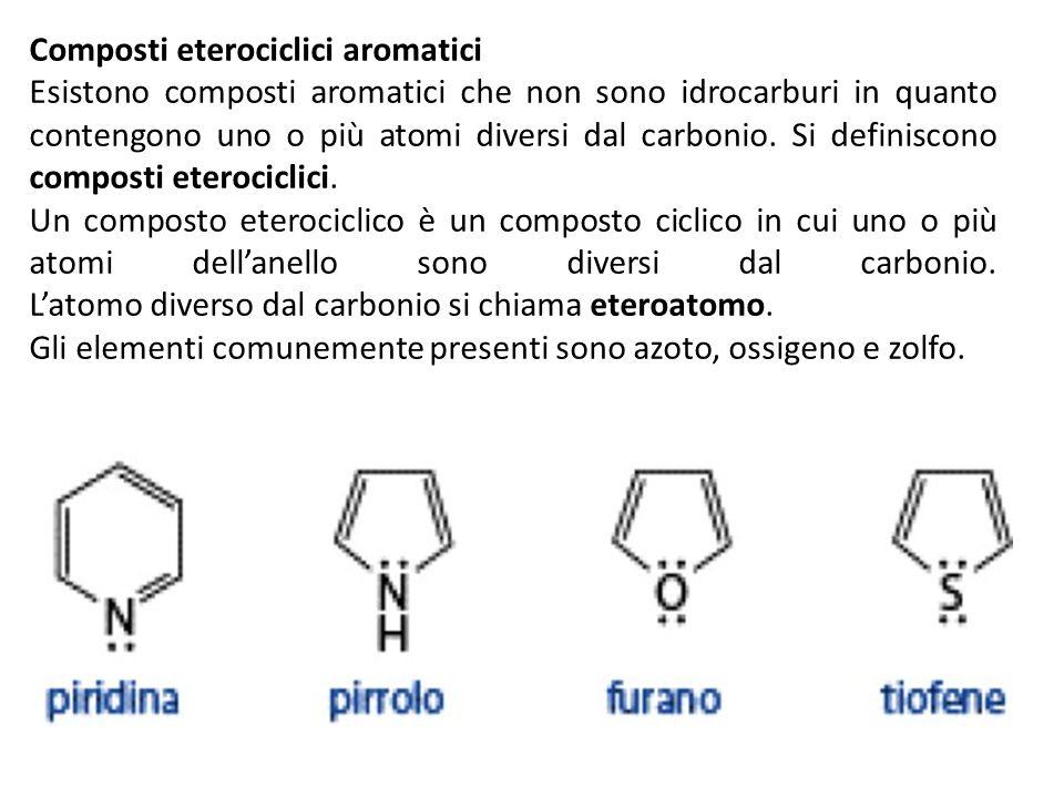 Composti eterociclici aromatici Esistono composti aromatici che non sono idrocarburi in quanto contengono uno o più atomi diversi dal carbonio. Si def