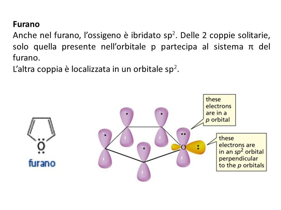 Furano Anche nel furano, lossigeno è ibridato sp 2. Delle 2 coppie solitarie, solo quella presente nellorbitale p partecipa al sistema π del furano. L