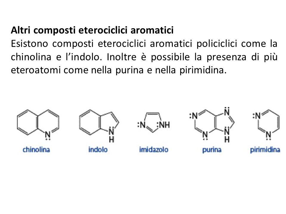 Altri composti eterociclici aromatici Esistono composti eterociclici aromatici policiclici come la chinolina e lindolo. Inoltre è possibile la presenz